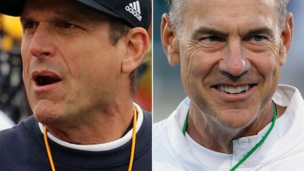 Which coach will be smiling at the end of the day: Michigan's Jim Harbaugh or Michigan State's Mark Dantonio?
