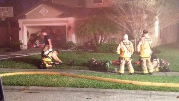 Brevard County fire crews respond to a house fire on Hailey Street in West Melbourne early Wednesday