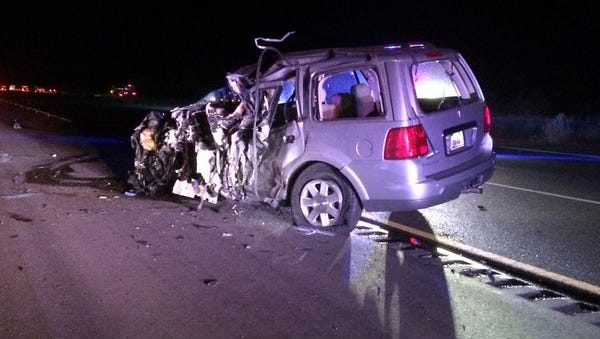 Wrong-way driver's SUV after I-10 crash in Eloy, Arizona.