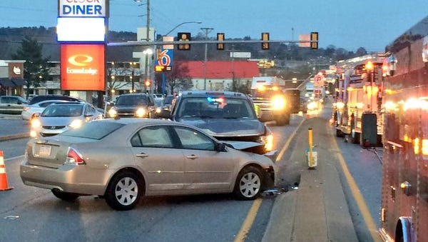 A two-vehicle crash was reported on Route 30 in Manchester Township on Thursday.