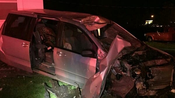 Four were injured in a crash Tuesday night.