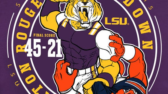 The graphic that was printed on the back of shirts sold around the LSU campus following a 45-21 blowout win over Auburn last season.