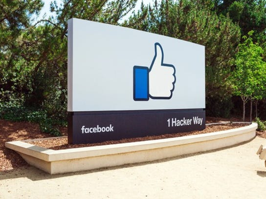 """The """"like"""" symbol at the entrance to Facebook HQ"""