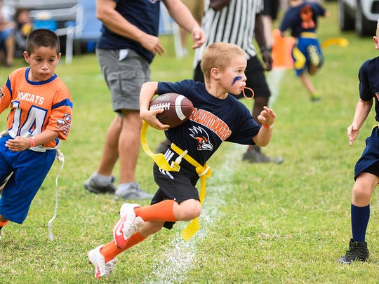 A Pee-Wee flag football tournament was part of the River Fest 2017.