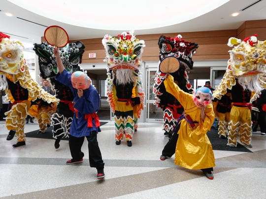 The ceremonial lion dance at the opening ceremony of