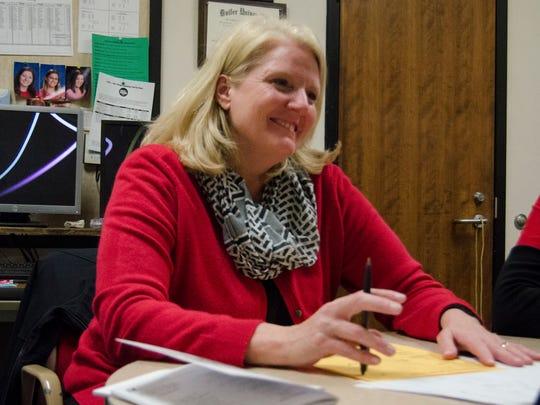 Richmond High School counselor Ellen Shepherd speaks