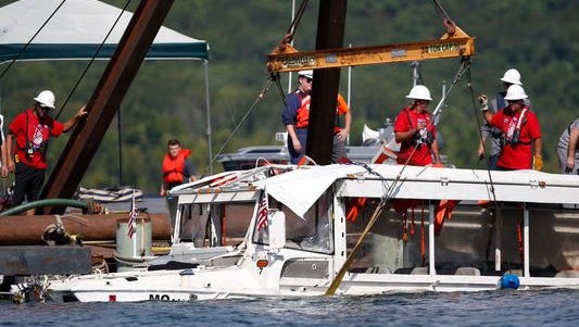 The duck boat that sank July 19, 2018, killing 17, during a severe thunderstorm on Table Rock Lake near Branson, Missouri, was brought to the surface on July 23, 2018.