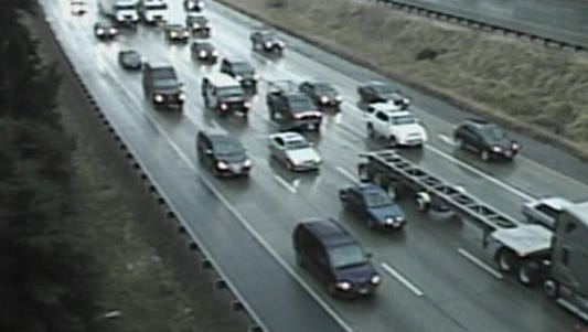 Traffic backs up Interstate 5 in Federal Way, Washington, Sept. 24, 2014.
