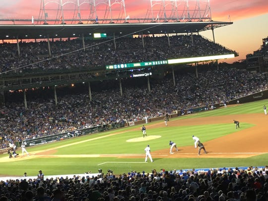 The view from the right field stands at Wrigley Field on July 31, 2016, as the Chicago Cubs played the Seattle Mariners.