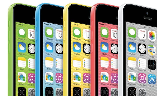 The new Apple iPhone 5C, which is available in five colors. The new phone features a 4-inch Retina display, an A6 chip and an 8-megapixel iSight camera.