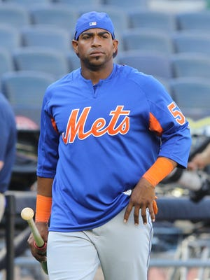 Yoenis Cespedes during batting practice at Yankee Stadium on Friday afternoon before the Mets open a three-game Subway Series set. Cespedes is the designated hitter, making his return from the DL after last playing for the Mets on May 13.