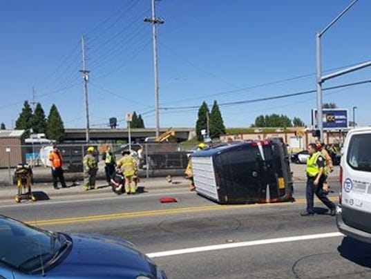 Armored vehicle rolls after crash on Silverton Road and Fisher Road