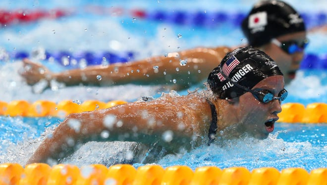 Hali Flickinger (USA) during the women's 200m butterfly semifinal Aug. 9, 2016, in the Rio 2016 Summer Olympic Games at Olympic Aquatics Stadium.
