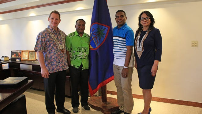 Representatives from the Solomon Islands visited with Lt. Gov. Ray Tenorio on April 21. From left: Tenorio, Dennis Marita, director of Ministry of Culture & Tourism, George Herming, director of communications, and Festival of Pacific Arts Festival Director Rose Ramsey.