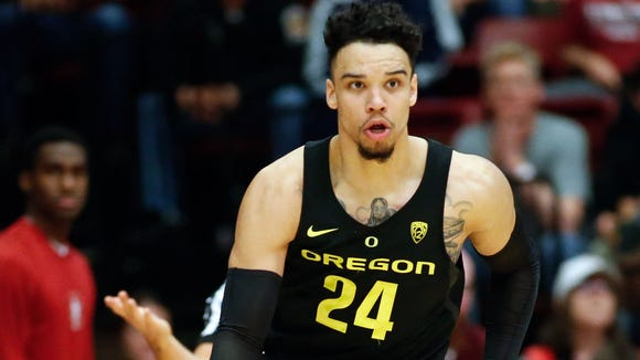 Feb 25, 2017; Stanford, CA, USA; Oregon Ducks forward Dillon Brooks (24) drives the ball against the Stanford Cardinal during the second half of the game at Maples Pavilion.  The Oregon Ducks defeated the Stanford Cardinal with a score of 75-73.  Mandatory Credit: Stan Szeto-USA TODAY Sports