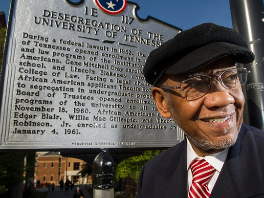 The historical marker on the University of Tennessee campus commemorating  integration mentions Knoxville resident Theotis Robinson Jr. who was one of the first African American undergraduate students to attend UT.