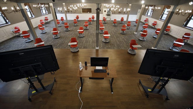 St. Charles Preparatory School has modified classrooms, converted athletic and common space to allow social distancing as they try to reopen for all students this fall in Columbus on July 23, 2020. St. Charles' Campus Theater Cavello Center has been converted to a classroom.