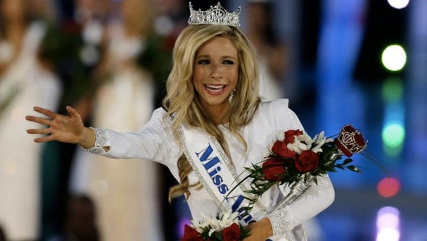 Miss New York Kira Kazantsev walks the runway after she was named Miss America 2015 during the Miss America 2015 pageant, Sunday, Sept. 14, 2014, in Atlantic City, N.J. (AP Photo/Mel Evans)