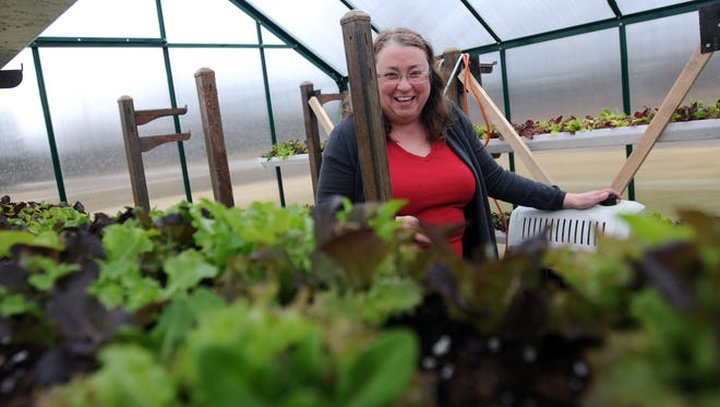 Melodee Beals, owner of Dancing Meadows Homestead farm, talks about growing in the greenhouse Sunday, Mar. 13, at the farm in Cottrellville Township.