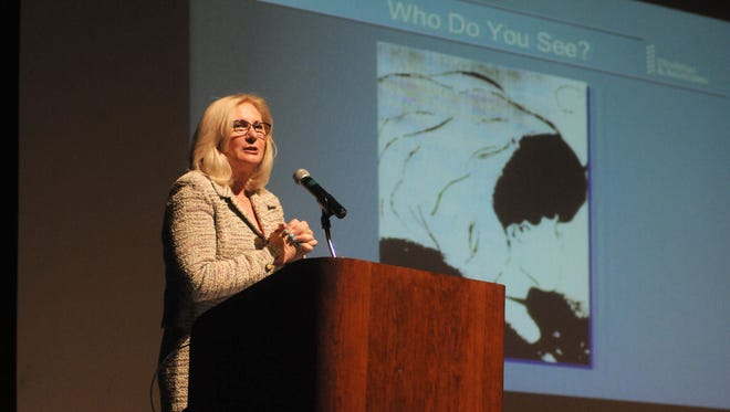 Trial consultant Jo-Ellan Dimitrius talks about psychology  Monday, Mar. 14, during the annual Port Huron Town Hall lecture series at McMorran Theatre.