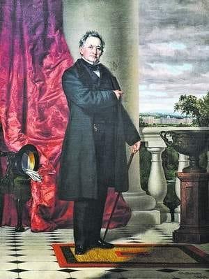 Portrait of Matthew Vassar, founder of Vassar College, at the Frances Lehman Loeb Art Center at Vassar College in the Town of Poughkeepsie.