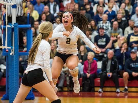 Delone Catholic's Chloe Kindig reacts after the Squirettes scored a point in the PIAA 2A state championship game against Freeport in Johnstown Nov. 18, 2017.