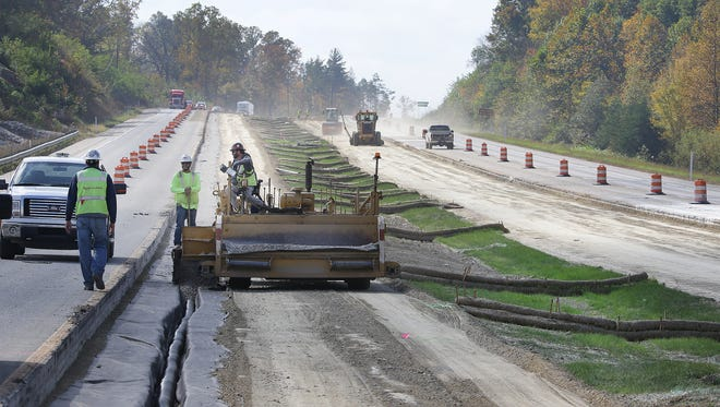 Construction work continues on Indiana State Road 37 south of Martinsville and north of Bloomington Monday, Oct 17, 2016, afternoon in Morgan County.