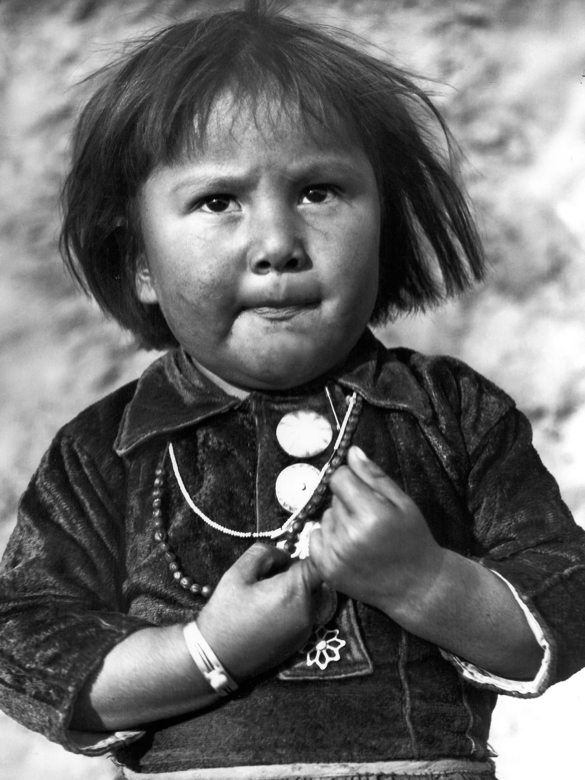 """Hopi Child,"" 1959.  Goldwater said: ""This little bucket of fire was the daughter of Mr. Potter, a Hopi who lived at the Grand Canyon at the Indian Shop. The one right across from El Tovar. When she would see me coming she would run up to me and want me to take her picture."""