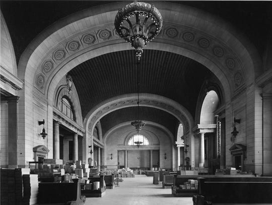 The waiting room at Michigan Central Station, date