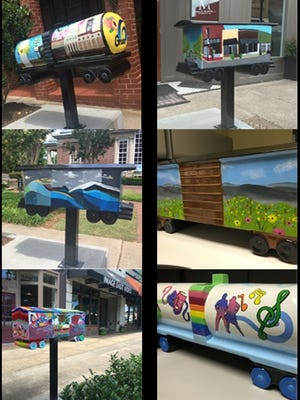 The six models of boxcars that are going up as new public art in Greer were designed and decorated by students.