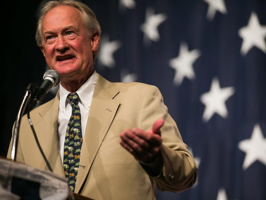 Lincoln chafee speaks during the iowa democratic wing ding at the surf