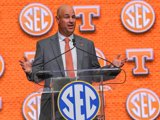 Tennessee Volunteers head coach Jeremy Pruitt addresses