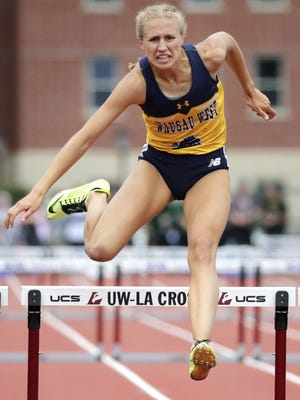 Wausau West's Brooke Jaworski competes in the Division 1 girls 300 meter hurdles during the finals of the WIAA state track and field meet Saturday, June 2, 2018, at Veterans Memorial Stadium in La Crosse.