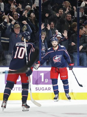 Emil Bemstrom, right, scored five goals in the Blue Jackets' final 10 games before the pause because of the coronavirus in March.