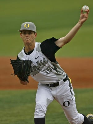 Oregon starter Cole Irvin gave up two earned runs and six hit in seven inning during the Ducks 9-0 loss to Oregon State in a Civil War baseball game at PK Park, in Eugene, on Saturday, May 18, 2013.