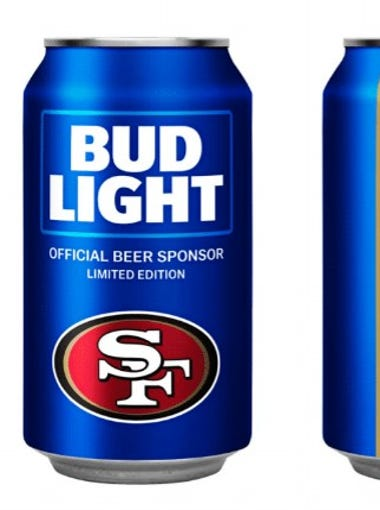Bud Light has unveiled NFL team cans for 28 teams for the 2018 NFL season. Take a look at each one, beginning with the 49ers.