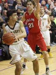 Old Fort's Mason Salas looks for a teammate as SJCC's