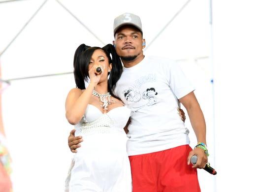 INDIO, CA - APRIL 15:  Cardi B (L) and Chance the Rapper
