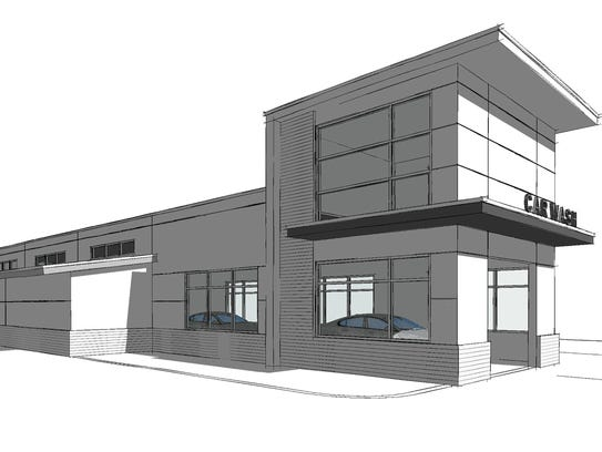 A rendering of the new Luv-A-Wash car wash planned