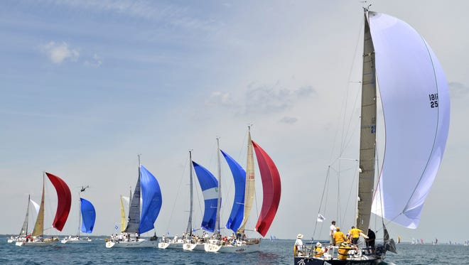 Sailboats in the Port Huron to Mackinac Island race July 12, 2014.