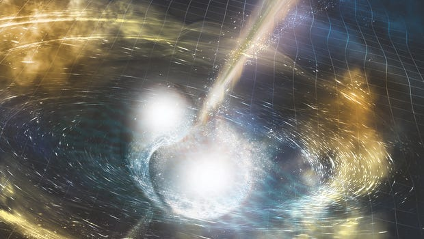 """Artist's illustration of two merging neutron stars. This year's Lannutti Memorial public talk will be on """"Einstein, gravitational waves and black holes."""""""
