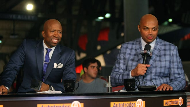 Charles Barkley (right) and TNT television personality Kenny Smith (left) prior to Game 1 of the Eastern Conference Finals of the NBA Playoffs between the Atlanta Hawks and the Cleveland Cavaliers at Philips Arena.