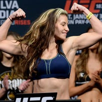 Jan 30, 2015; Las Vegas, NV, USA; Miesha Tate at the weigh in for her women's bantamweight bout against Sara McMann (not pictured) at the MGM Grand Garden Arena. Mandatory Credit: Jayne Kamin-Oncea-USA TODAY Sports