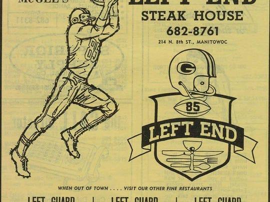 Left End Steak House 1969 Manitowoc City Directory advertisement.