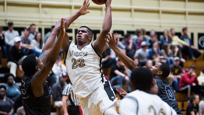 Anderson University's Carlos Dotson makes a basket Wednesday game in Anderson against Lincoln Memorial.