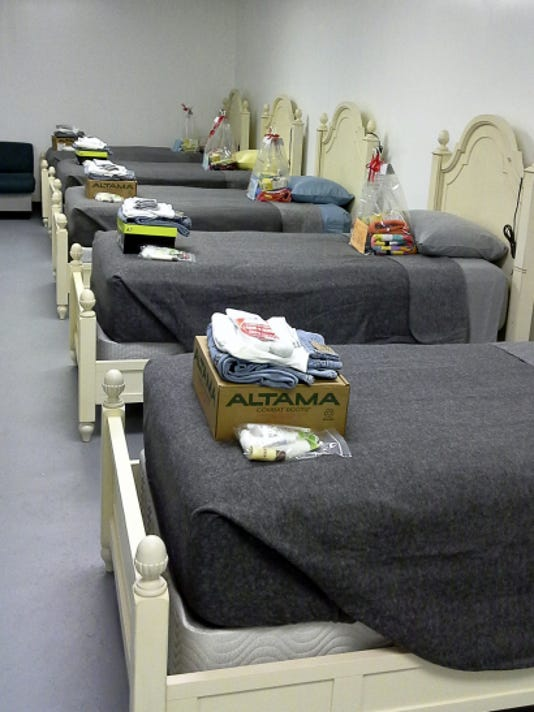 A room at the Veteran's Helping Hand shelter is ready for residents. (Barb Murphy photo)