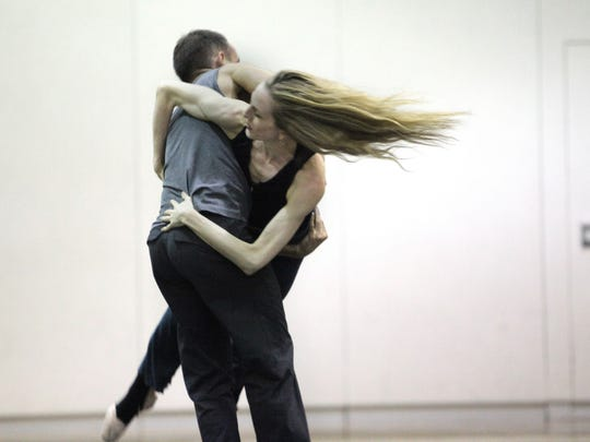 """Choreographer Brian Brooks and Louisville native Wendy Whelan working together in 2012 on their first project """"Restless Creature"""" at Vail International Dance Festival"""
