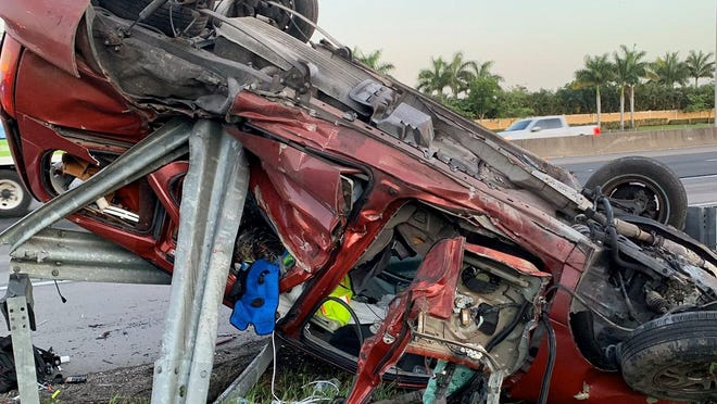 One person sustained injuries when this sedan crashed on northbound Interstate 95 in Boynton Beach on Thursday, May 21, 2020.