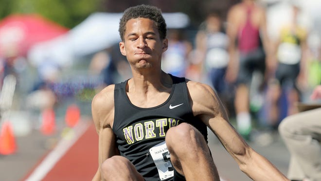 Kainen Warren of North Kitsap finished fifth and Class 2A long jump competition, easily setting a personal best in the process.