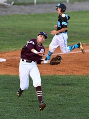 Henderson's Jake Murdach throws to first base as Union